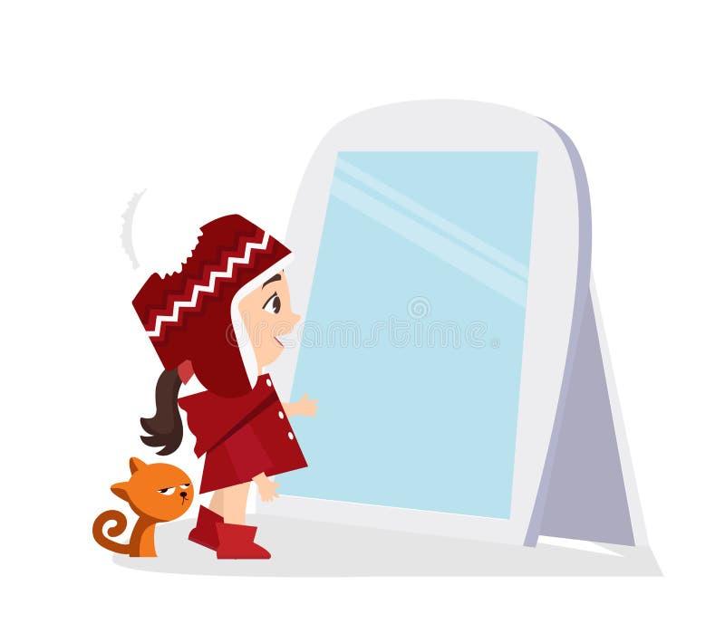 Mała dziewczyna kota i patrzeć pozycja przed lustrem royalty ilustracja