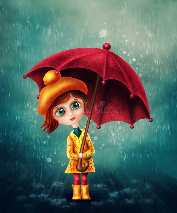 mała dziewczyna parasolkę ilustracja wektor