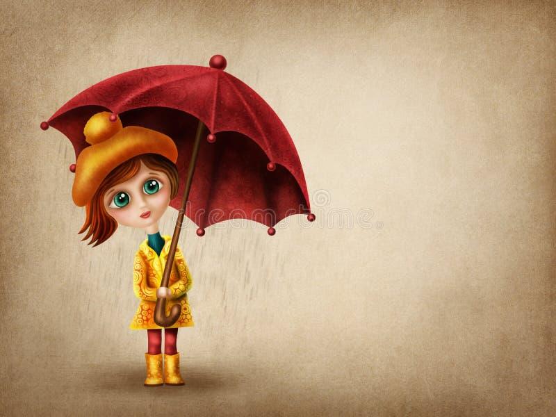 mała dziewczyna parasolkę ilustracji
