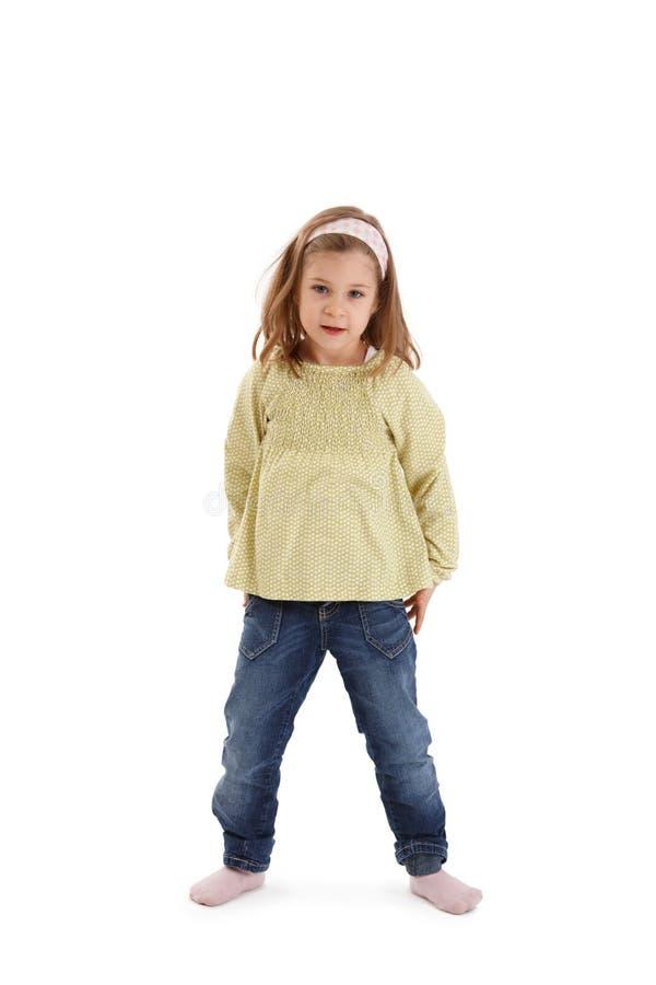 Mała dziewczyna pracowniany portret fotografia stock