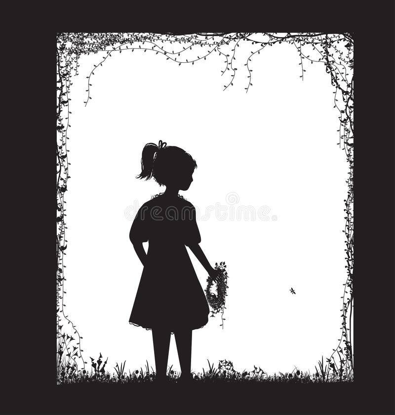 Mała dziewczyna trzyma śródpolnego kwiatu wianek, czarny i biały, dzieciństwo pamięć, royalty ilustracja
