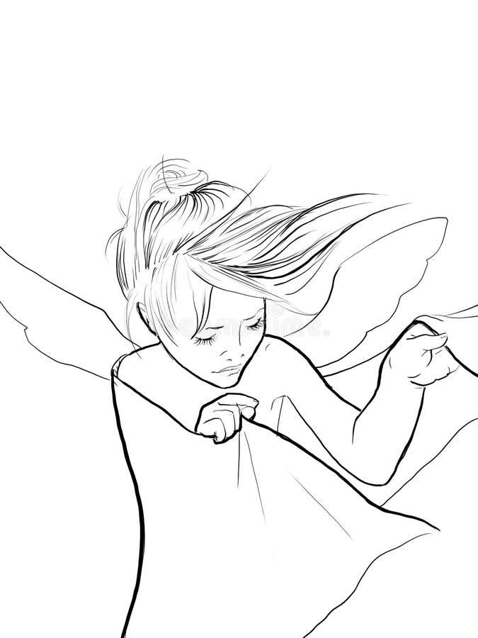Mała dziewczynka anioł z skrzydłami ilustracyjnymi ilustracja wektor