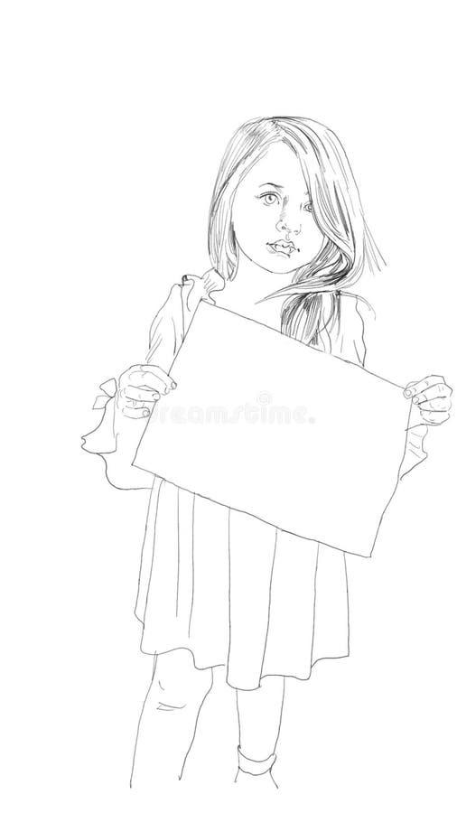 Mała dziewczynka anioł z skrzydłami ilustracyjnymi royalty ilustracja