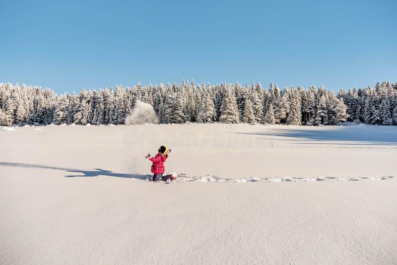 Mała dziewczynka bawić się w śniegu zakrywał Durmitor górę w Montene obraz royalty free