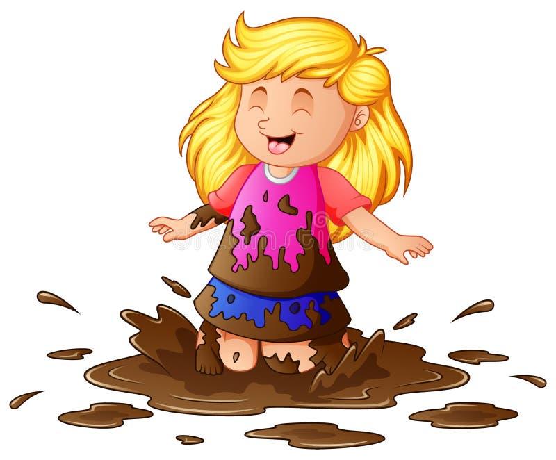 Mała dziewczynka bawić się w błocie ilustracja wektor