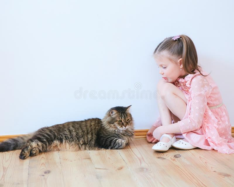 Mała dziewczynka bawić się z kotem w domu fotografia royalty free