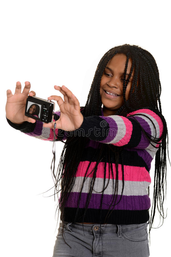 Mała dziewczynka bierze selfie fotografia stock