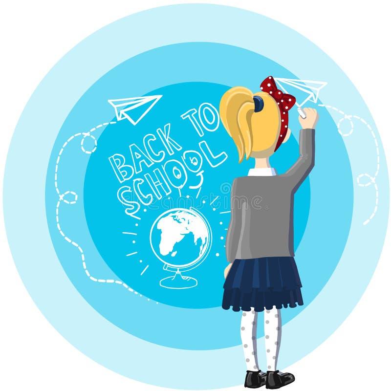 Mała dziewczynka blondynu stojak blisko błękitnego tła, drowing i pisze z biel kredą szkoła, z powrotem, rysunkowy papier fotografia royalty free