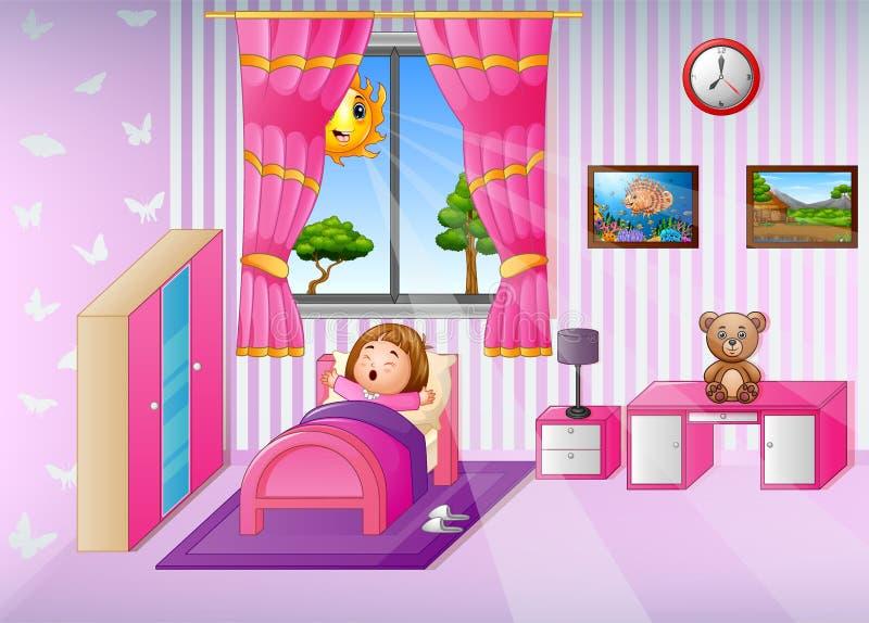 Mała dziewczynka budzi się up i ziewa w ranku royalty ilustracja