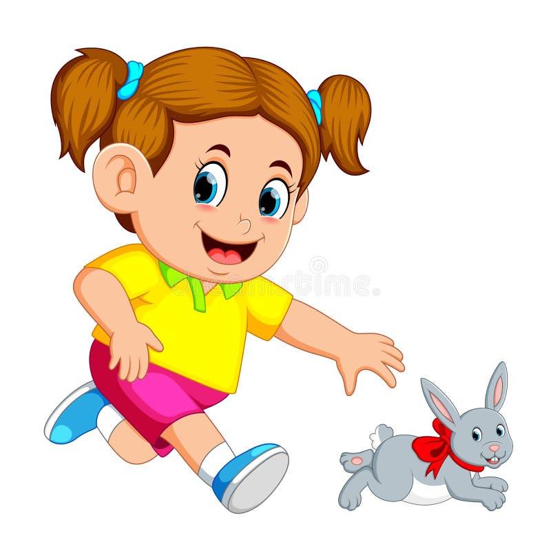 Mała dziewczynka chwyt w górę królika ilustracji