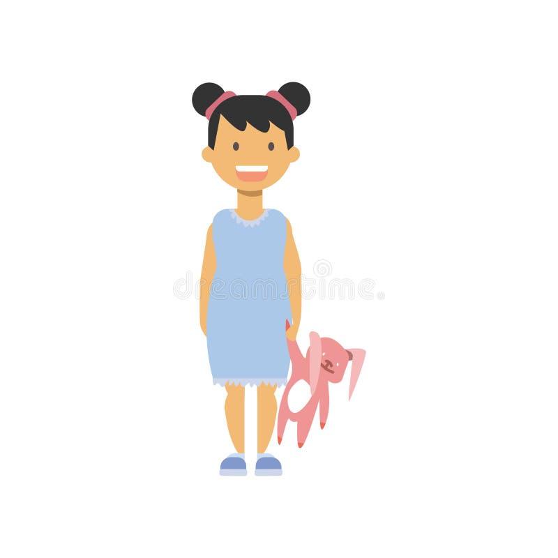 Mała dziewczynka chwyta zabawki królik, szczęśliwi dzieci folował długości avatar na białym tle, pomyślny dziecina pojęcie ilustracji