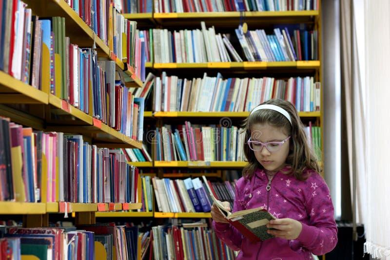 Mała dziewczynka czyta książkę w bibliotece obraz stock