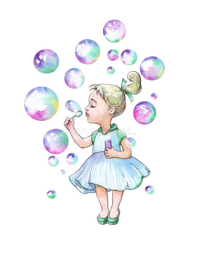 Mała dziewczynka dmucha mydlanych bąble royalty ilustracja