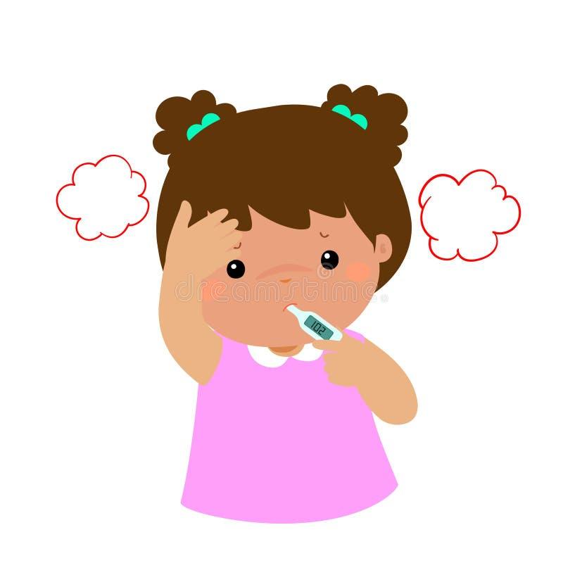 Mała dziewczynka dostać wysokotemperaturową kreskówkę royalty ilustracja