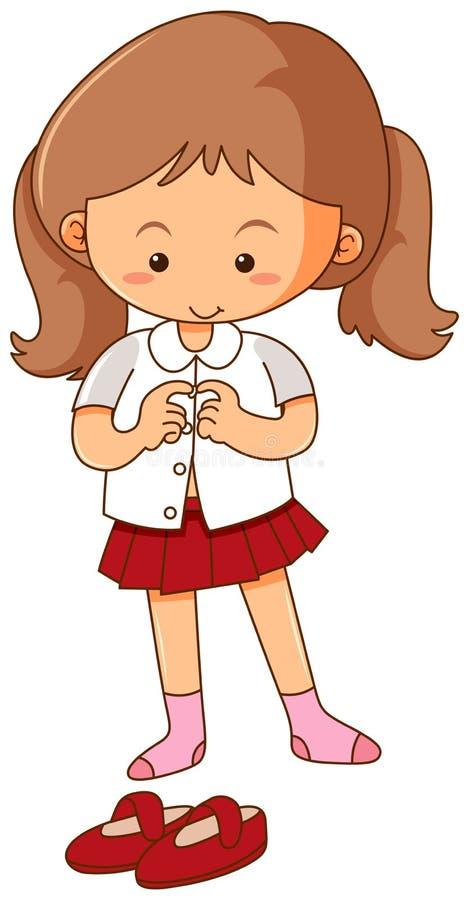 Mała dziewczynka dostaje suknię na białym tle ilustracji