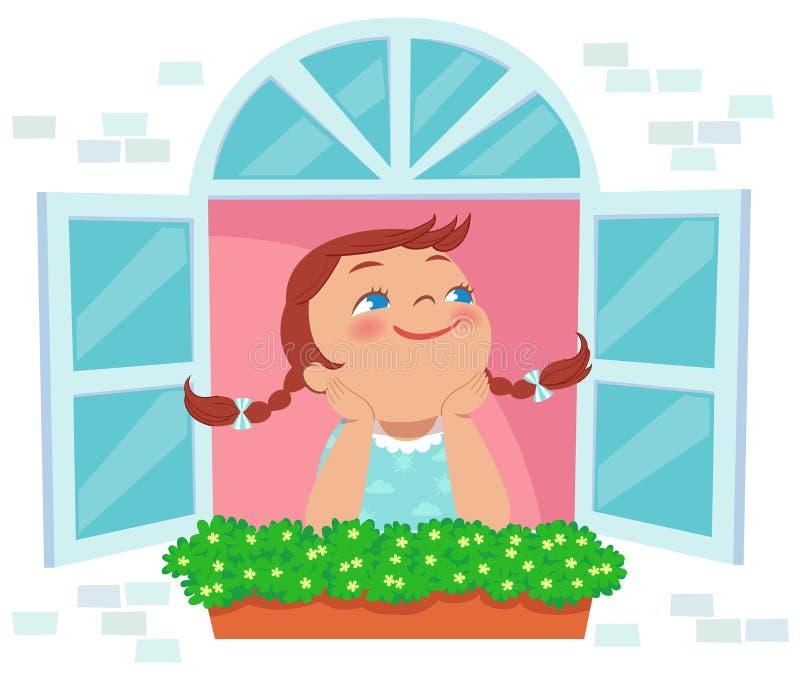 Mała dziewczynka dzień marzy przy okno ilustracji