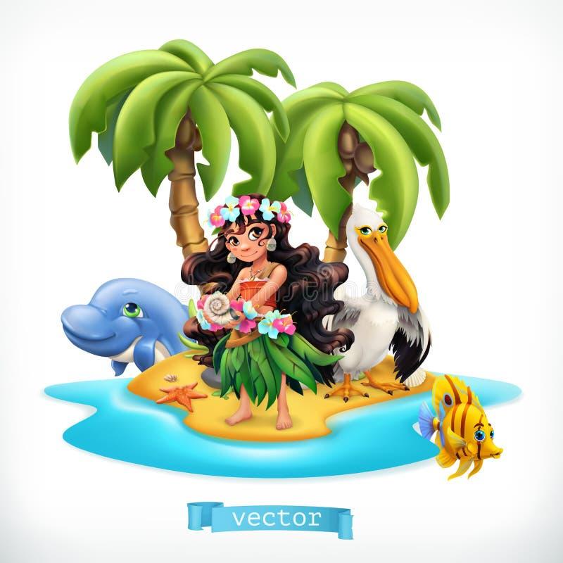 Mała dziewczynka i śmieszni zwierzęta Tropikalna wyspa wektoru ikona royalty ilustracja