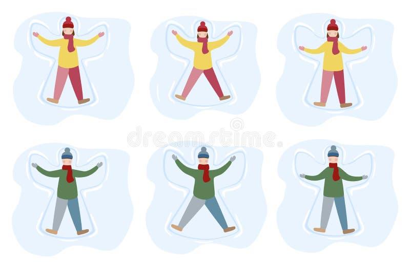 Mała dziewczynka i chłopiec cieszymy się pierwszy opad śniegu Dzieciaki robi śnieżnej anioł kreskówki ilustraci ilustracja wektor