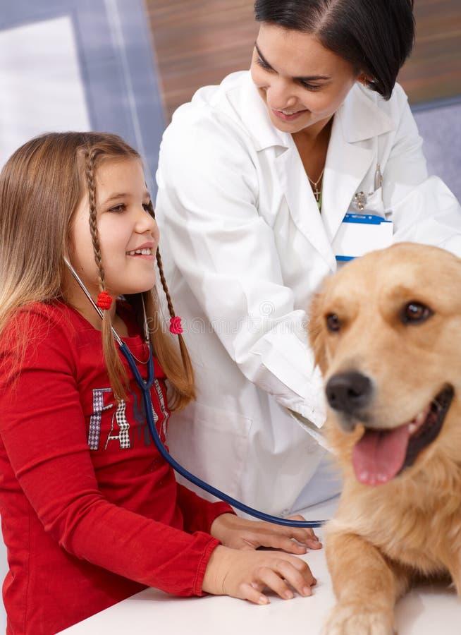 Mała dziewczynka i pies przy zwierząt domowych kliniką obraz royalty free