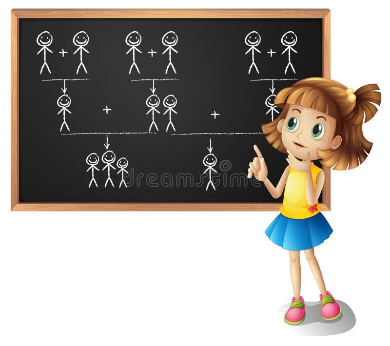 Mała dziewczynka i rodzinny drzewo na desce royalty ilustracja