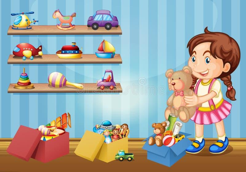Mała dziewczynka i wiele zabawki royalty ilustracja