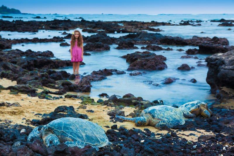 Mała dziewczynka i zieleni denni żółwie obraz stock