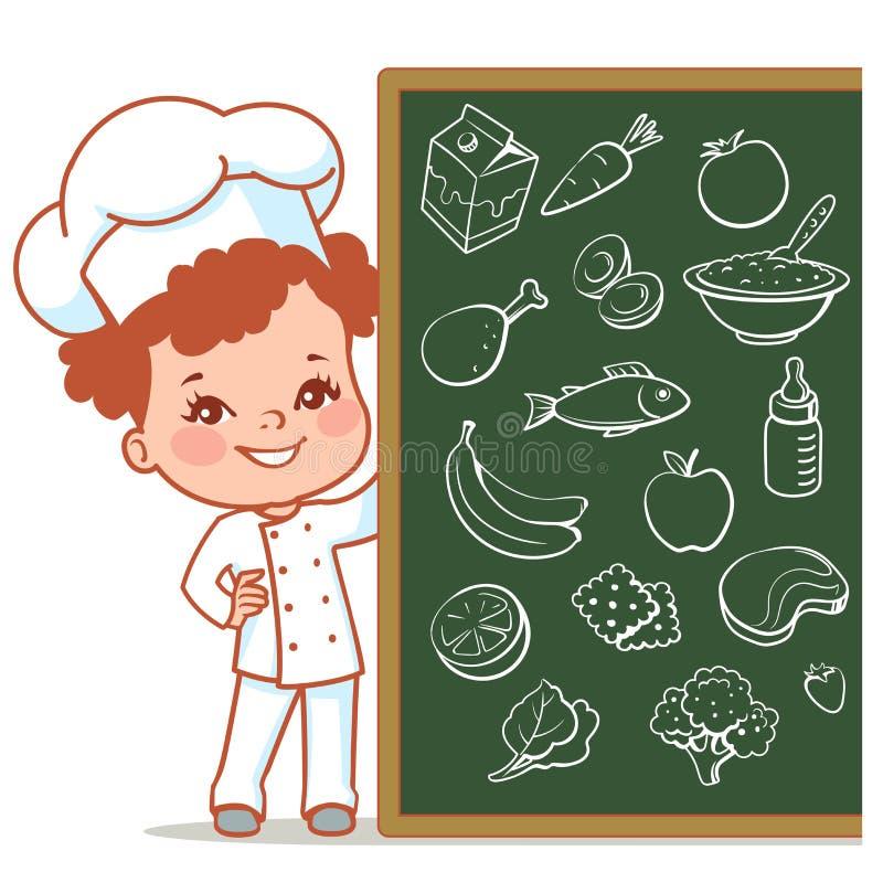 Mała dziewczynka jako szef kuchni royalty ilustracja