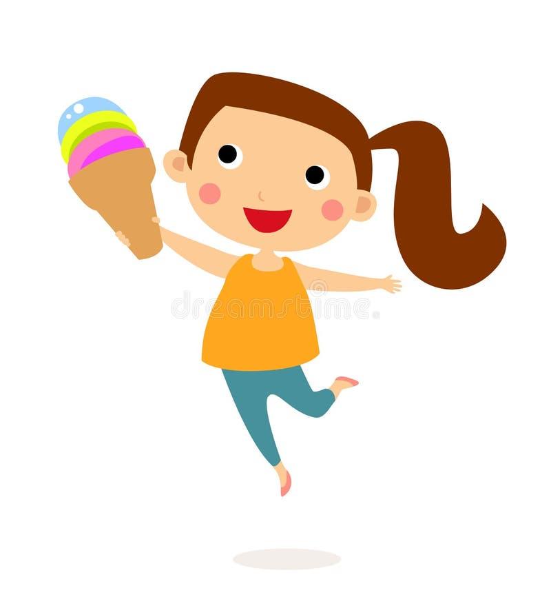 Mała dziewczynka je ślicznego trzy smaków lody rożek i cukierki royalty ilustracja