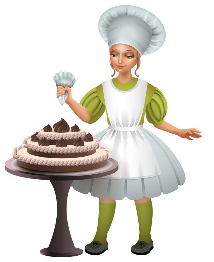 Mała dziewczynka kucharza mundur dekorujący czekoladowy tort royalty ilustracja