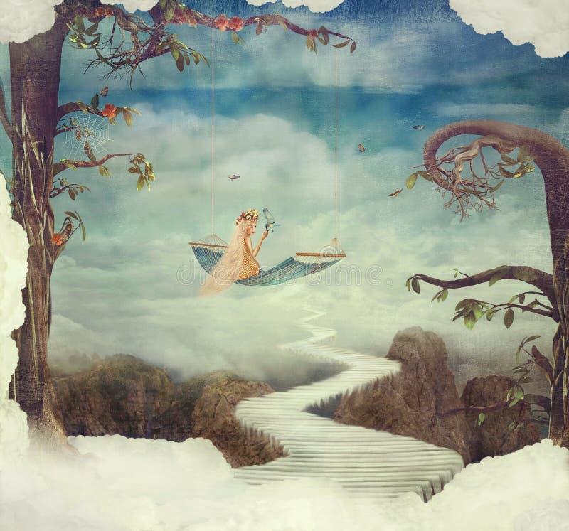 Mała dziewczynka na huśtawce w fantastycznym kraju ilustracji