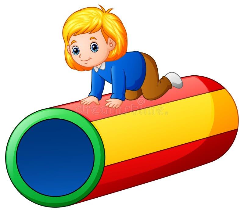 Mała dziewczynka na kolorowym tunelu royalty ilustracja