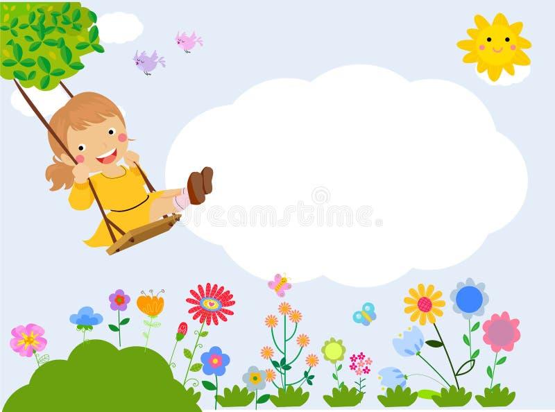 Mała dziewczynka płaci na huśtawce ilustracja wektor