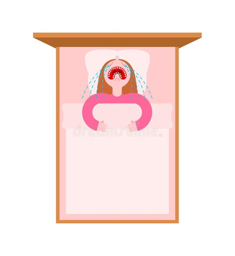 Mała dziewczynka płacz w łóżku Dziecko zgrymaszony sen royalty ilustracja