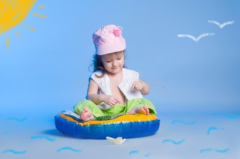 Mała dziewczynka połów zdjęcia stock