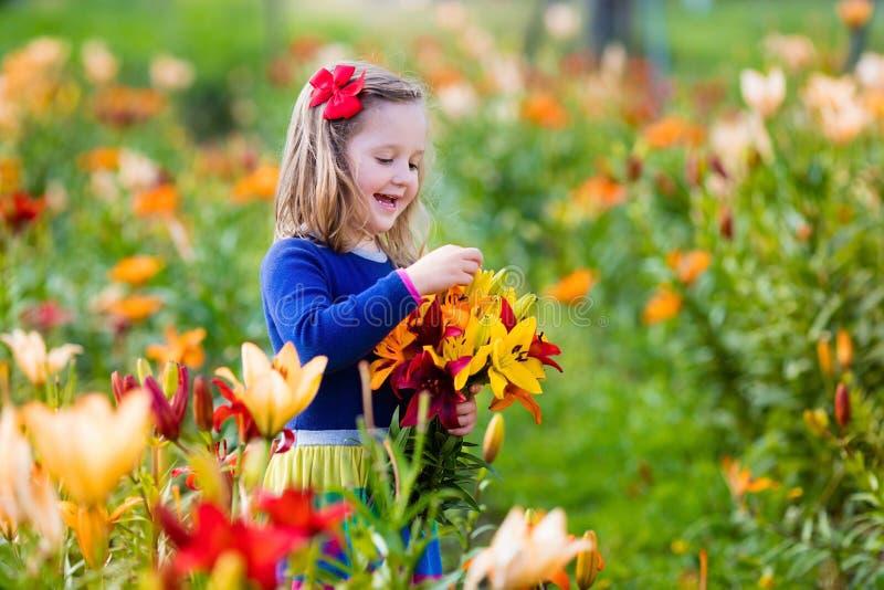 Mała dziewczynka podnosi lilly kwiaty obraz stock