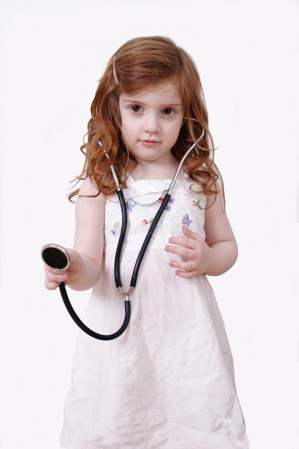 mała dziewczynka stetoskop obrazy stock