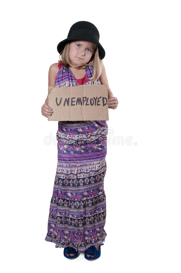 Mała Dziewczynka Trzyma bezrobocie znaka zdjęcia stock