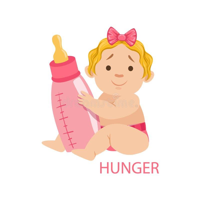 Mała dziewczynka Trzyma butelkę Jest Głodny, część powody niemowlak W pielusze, Jest Nieszczęśliwy I Płacze kreskówkę ilustracja wektor