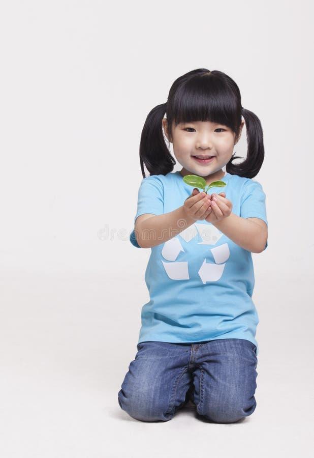 Mała dziewczynka trzyma rozsady, studio strzał fotografia stock