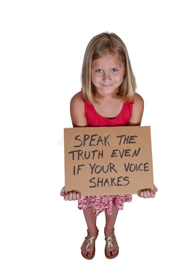 Mała Dziewczynka Trzyma znaka zdjęcia royalty free