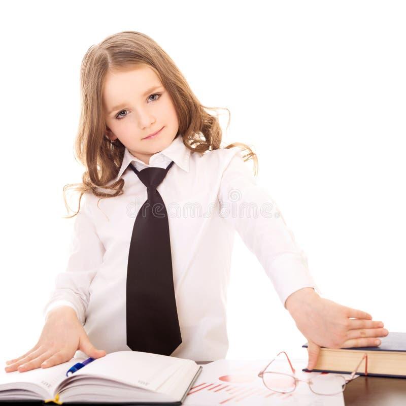 Mała dziewczynka ubierająca jako ufna biznesowa kobieta zdjęcia royalty free