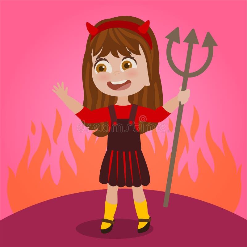 Mała dziewczynka ubierająca jako diabeł ilustracji