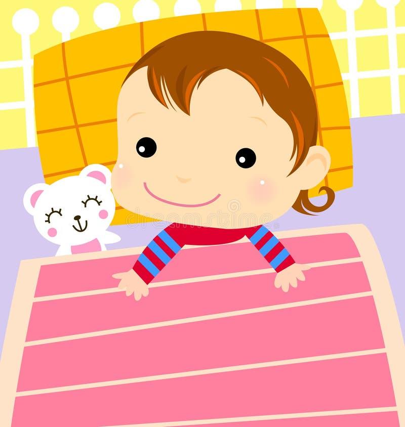Mała dziewczynka w łóżkowym przygotowywającym sen ilustracja wektor