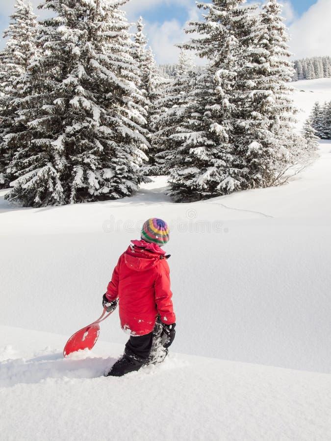 Mała dziewczynka w śniegu z saneczki zdjęcia royalty free