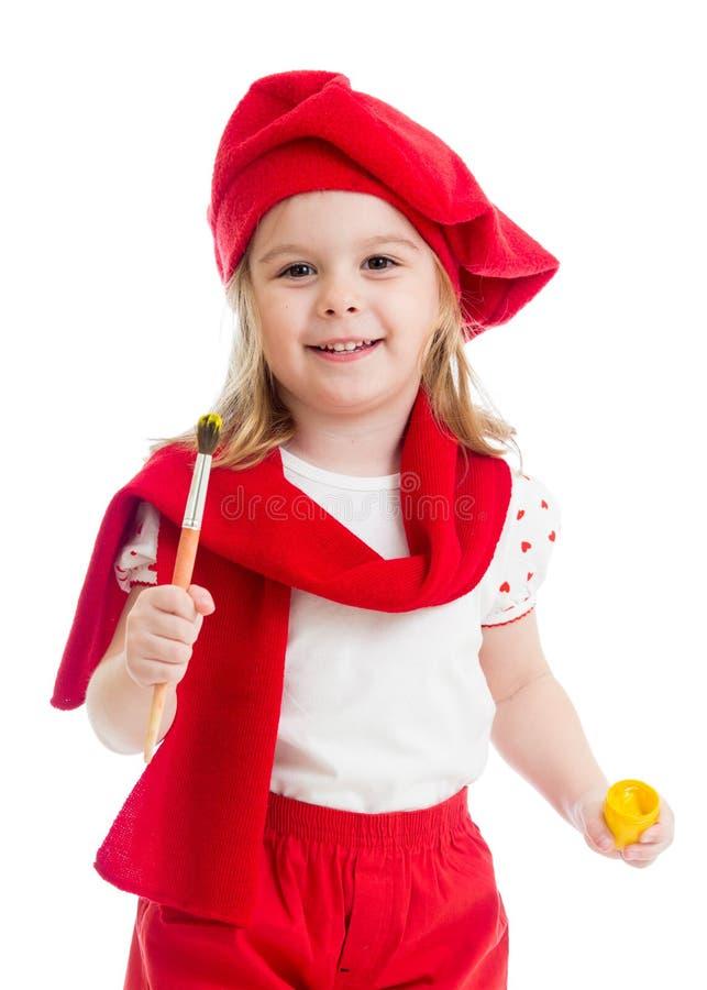 Mała dziewczynka w artysty kostiumu odizolowywającym zdjęcie royalty free