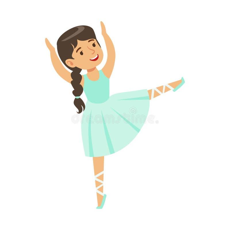 Mała Dziewczynka W błękit sukni Z Plat Dancingowego balet W Klasycznej taniec klasie, Przyszłościowy Fachowy balerina tancerz ilustracji