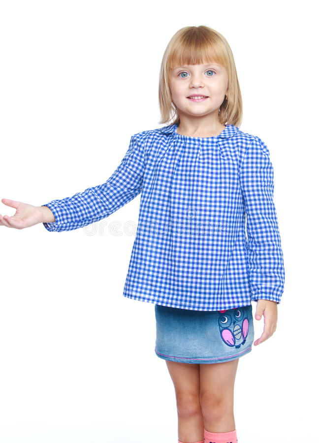 Mała dziewczynka w błękitnym kostiumu zdjęcia royalty free