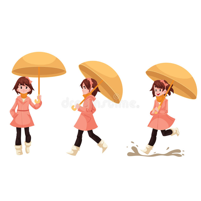 Mała dziewczynka w deszczowu z parasolem cieszy się dżdżystą pogodę ilustracji