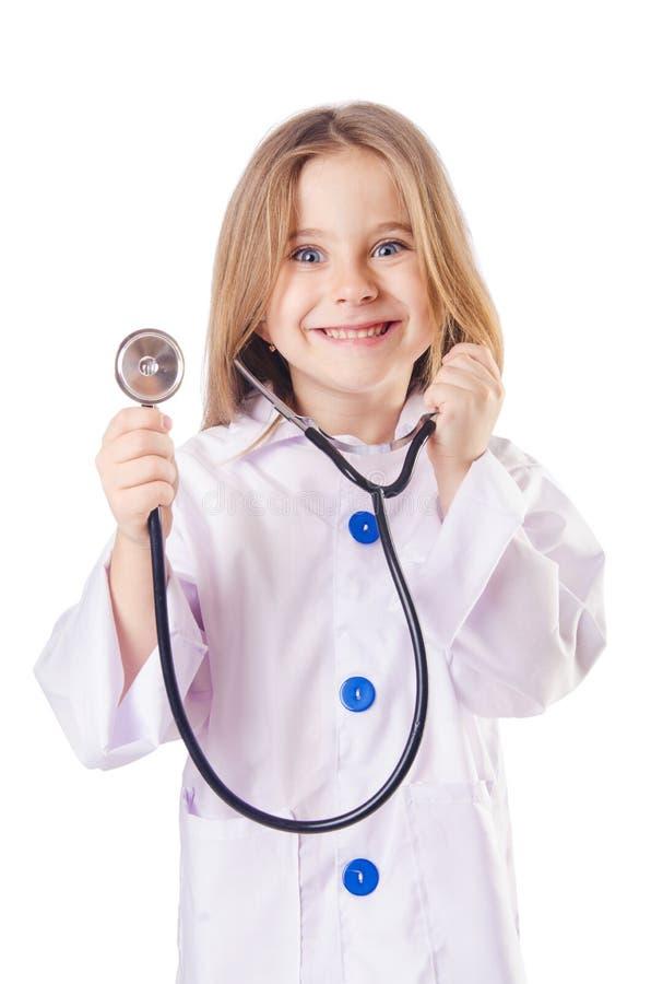 Mała dziewczynka w lekarka kostiumu obraz stock