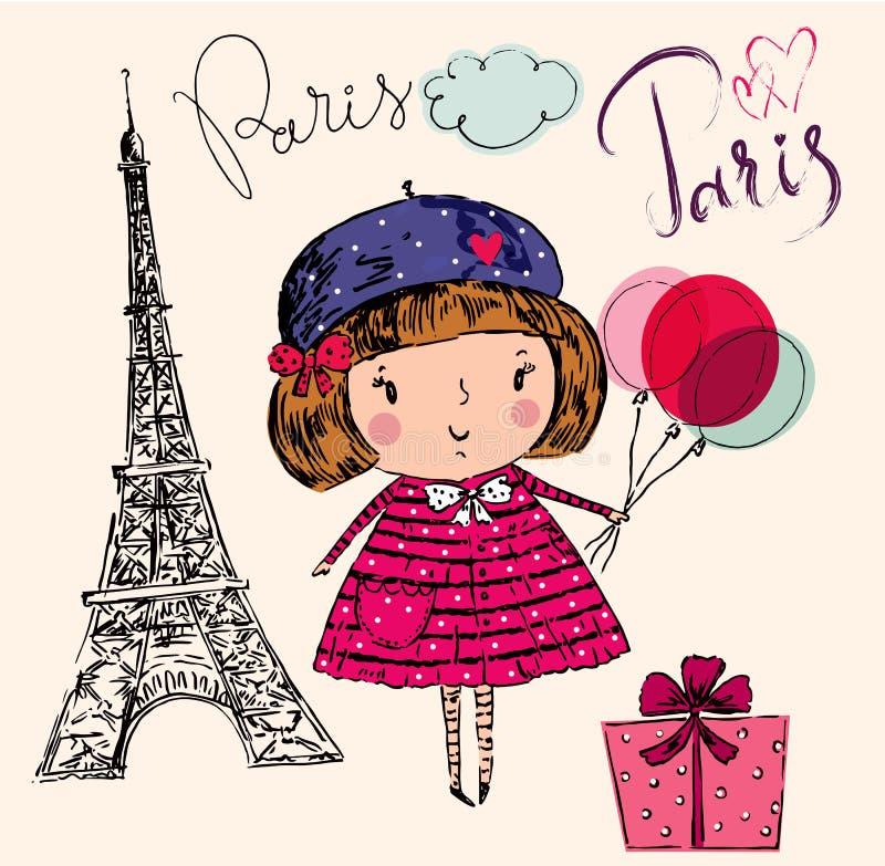 Mała dziewczynka w Paryż royalty ilustracja